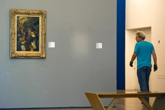 A empty spot on the wall marks the place where the stolen Henri Matisse painting was in Rotterdam's Kunsthal art gallery in the Netherlands.