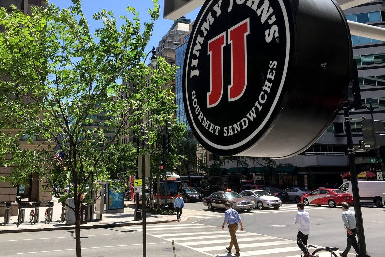 A Jimmy John's logo hangs outside one of their shops in Washington, D.C., on June 9, 2016