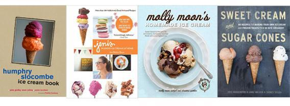 Humphry Slocombe Ice Cream by Jake Godby, Sean Vahey, Paolo Lucchesi (With), Frankie Frankeny (Photographer); Jeni's Splendid Ice Creams at Home by Jeni Britton Bauer; Molly Moon's Homemade Ice Cream by Molly Moon Neitzel, Christina Spittler, Kathryn Barnard (Photographer); Sweet Cream and Sugar Cones by Kris Hoogerhyde, Anne Walker, Dabney Gough.