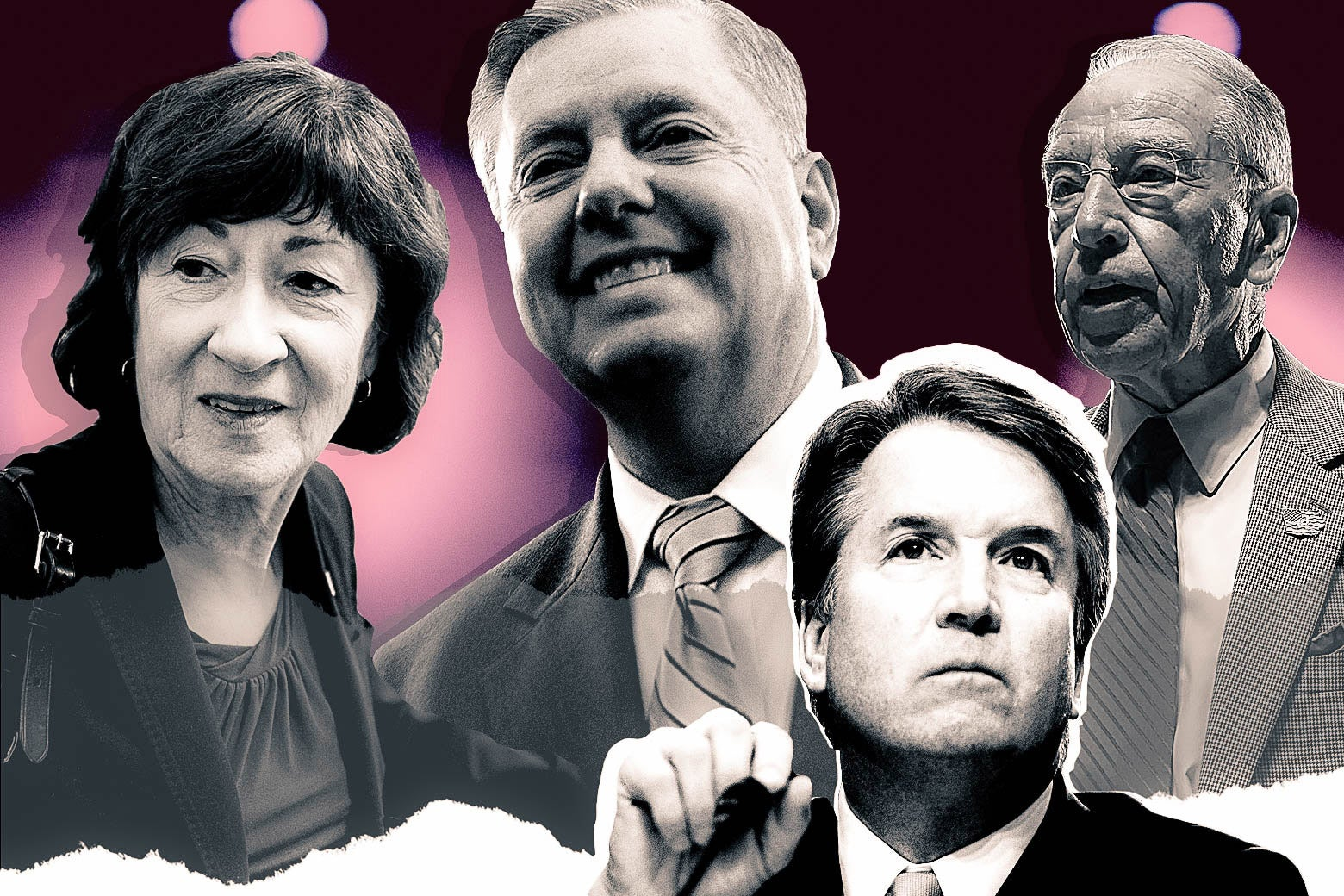 Photo collage of Sen. Susan Collins, Sen. Lindsey Graham, Judge Brett Kavanaugh, and Sen. Chuck Grassley