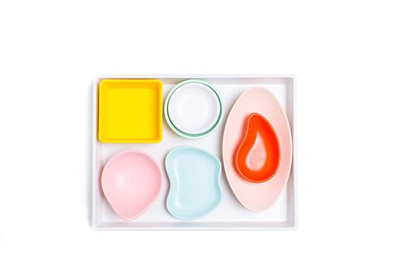 Sugar & Cloth White Melamine Tray and Multicolor Condiment Cups Set, 8 Pieces