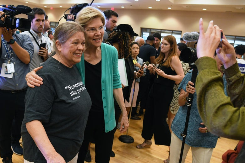 Marilyn Beilstein of Nevada poses for a photo with Democratic presidential candidate U.S. Sen. Elizabeth Warren on July 2 in Las Vegas.
