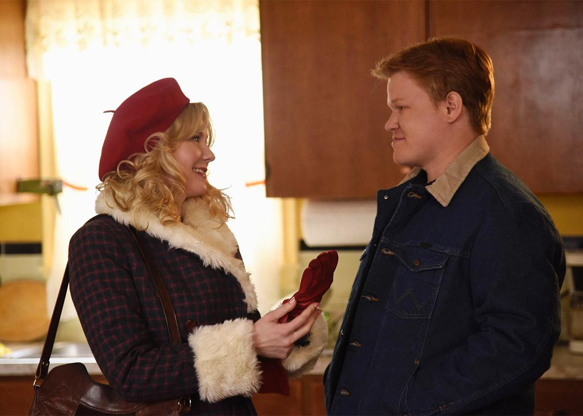Kirsten Dunst as Peggy Blumquist, Jesse Plemons as Ed Blumquist ,Kirsten Dunst as Peggy Blumquist, Jesse Plemons as Ed Blumquist in Fargo.