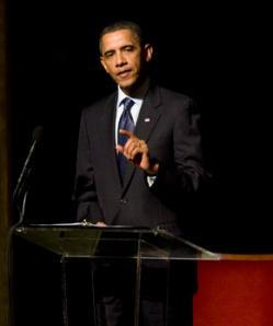 President Barack Obama speaks at the memorial service for Ambassador Richard Holbrooke on January 14, 2011 at the Kennedy Center in Washington, D.C.