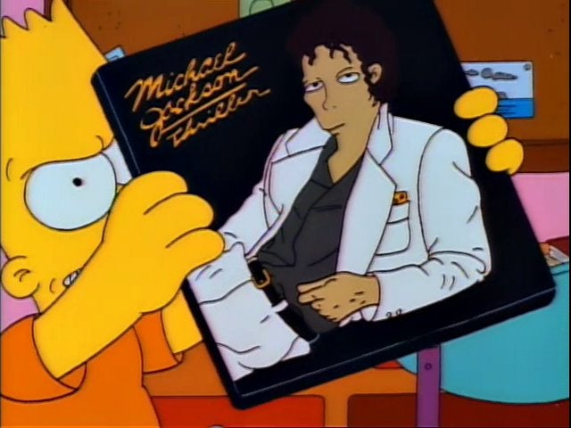 Bart Simpson holds up a copy of Michael Jackson's Thriller LP.