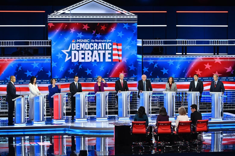 Democratic presidential hopefuls at the fifth primary debate on Nov. 20 in Atlanta.