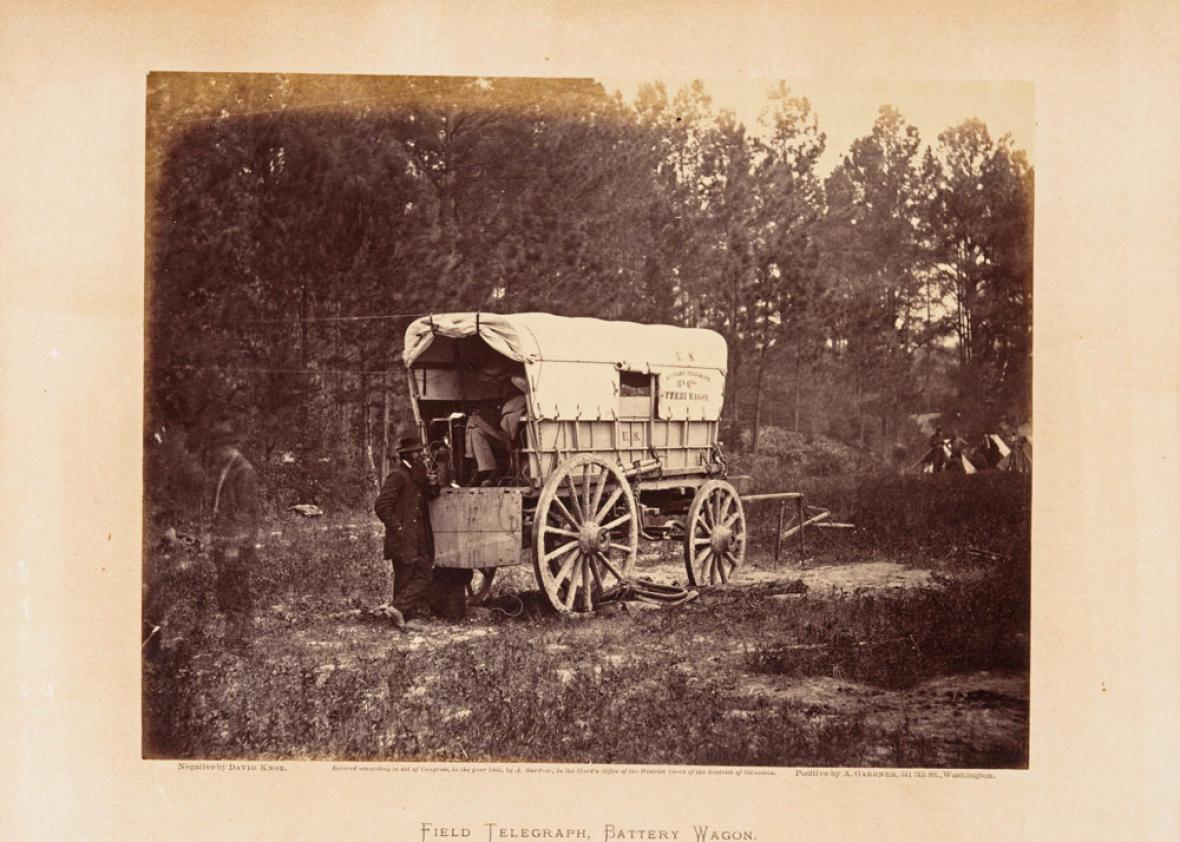 Field telegraph, battery wagon, September, 1864, from Gardner's Photographic Sketch Book of the War. Volume 2.