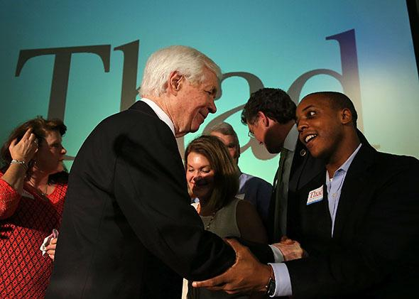 Sen. Thad Cochran greets supporters during his victory party on June 24, 2014, in Jackson, Mississippi.
