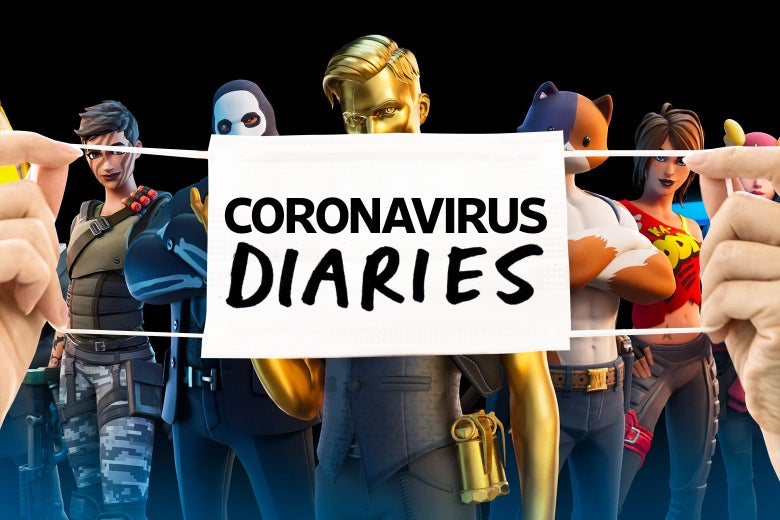 "Two hands holding a mask that says ""Coronavirus Diaries"" over images of several characters from Fortnite including a golden man, an anthropomorphized cat with large muscles, and a man in a luchador-like skull mask."