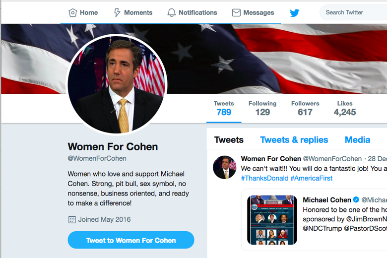 A screen grab of the @WomenForCohen page, in which you can see an American flag cover photo, a photo of Cohen as the profile photo, and the caption.
