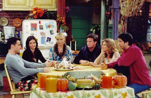 Jennifer Aniston, Courteney Cox, Lisa Kudrow, Matt LeBlanc, Matthew Perry and David Schwimmer in Friends (1994).