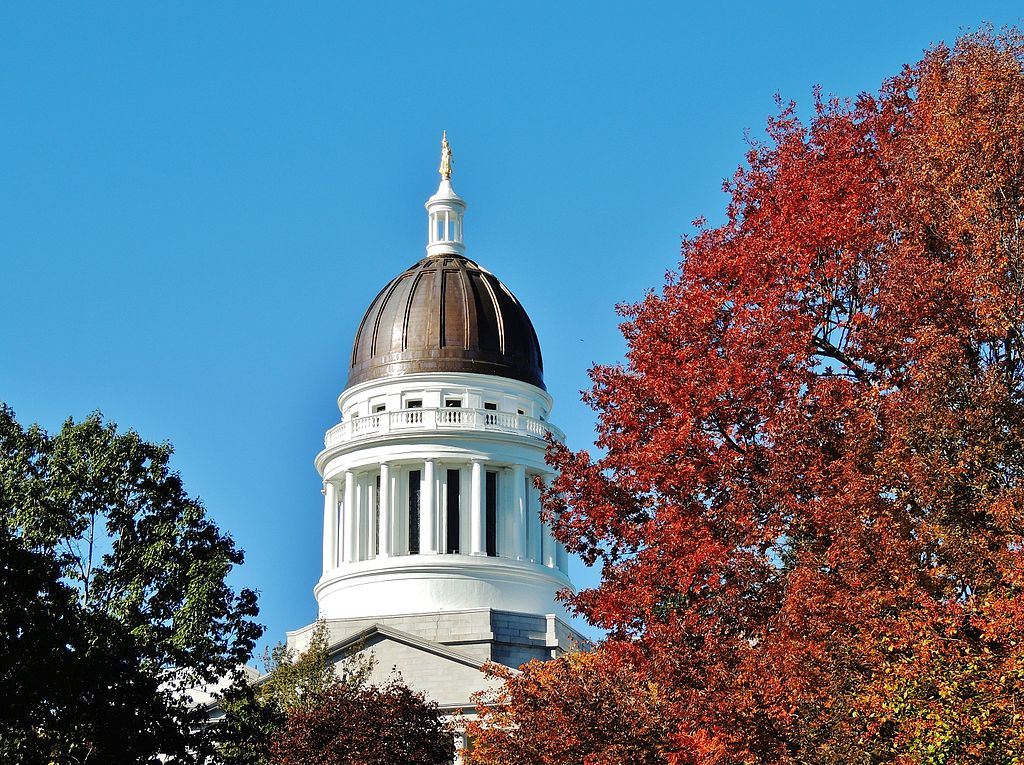 The dome of the Maine State Capitol Building.