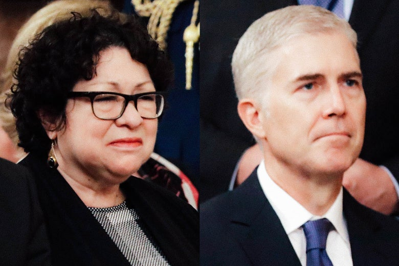 Side by side images of Supreme Court Justices Sonia Sotomayor and Neil Gorsuch.