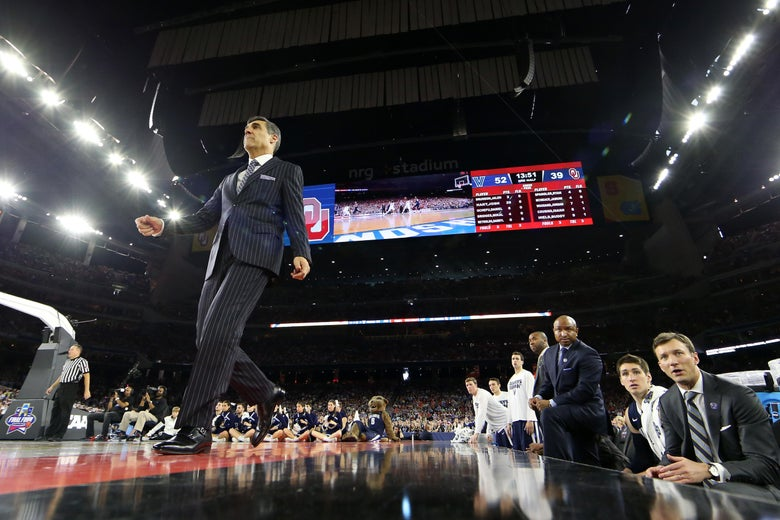 HOUSTON, TEXAS - APRIL 02:  Head coach Jay Wright of the Villanova Wildcats walks on the court in the second half against the Oklahoma Sooners during the NCAA Men's Final Four Semifinal at NRG Stadium on April 2, 2016 in Houston, Texas.  (Photo by Ronald Martinez/Getty Images)