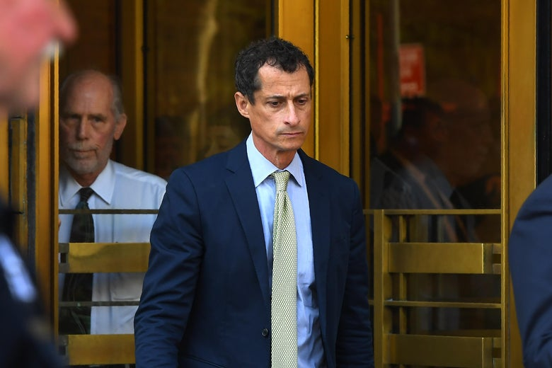 Anthony Weiner, a former Democratic congressman leaves Federal Court in New York September 25, 2017 after being sentenced for 21-months  for sexting with a 15-year-old girl. / AFP PHOTO / TIMOTHY A. CLARY        (Photo credit should read TIMOTHY A. CLARY/AFP/Getty Images)