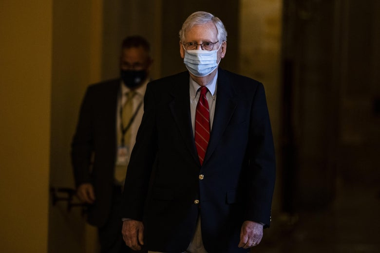 Mitch McConnell, wearing a mask.