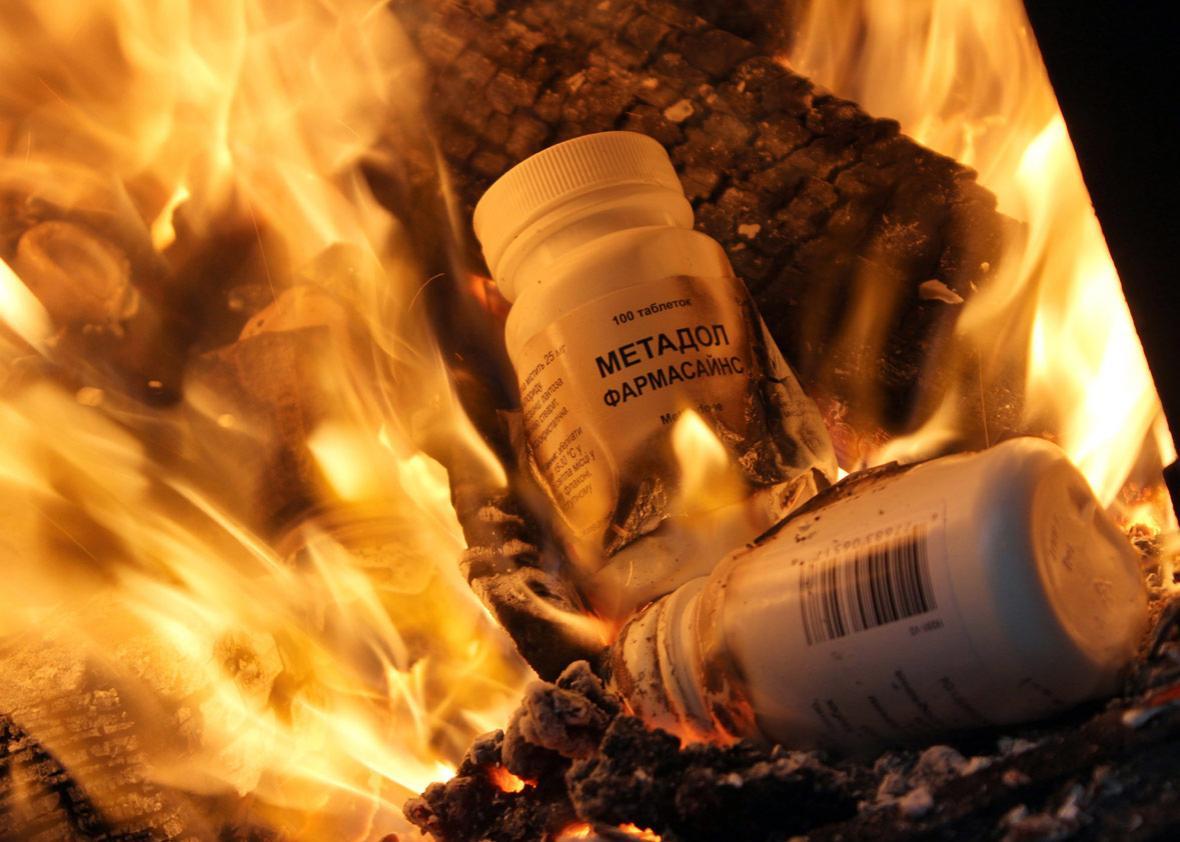 Bottles of synthetic opioid Methadone