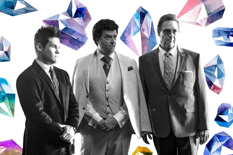Adam Devine, Danny McBride, and John Goodman on a background of gemstones.