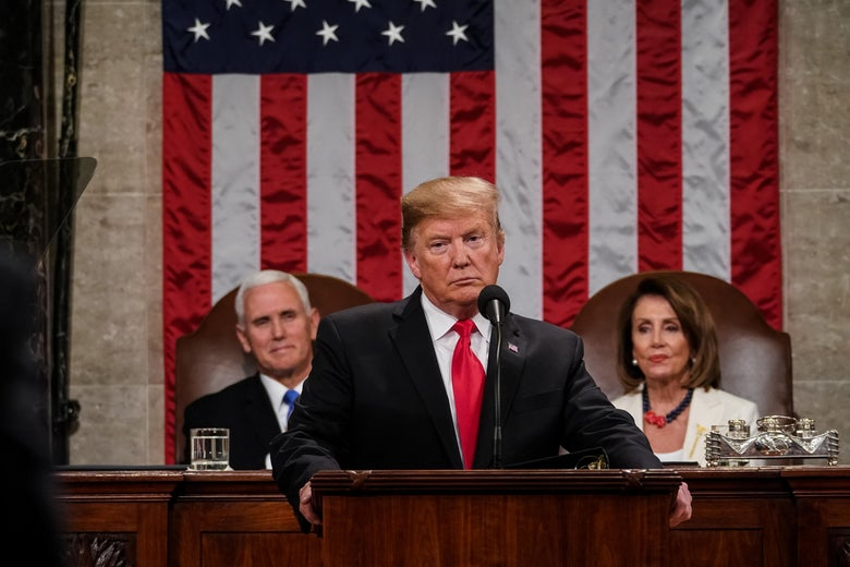 U.S. President Donald Trump, with Vice President Mike Pence and House Speaker Nancy Pelosi looking on, delivers the State of the Union address on Tuesday.