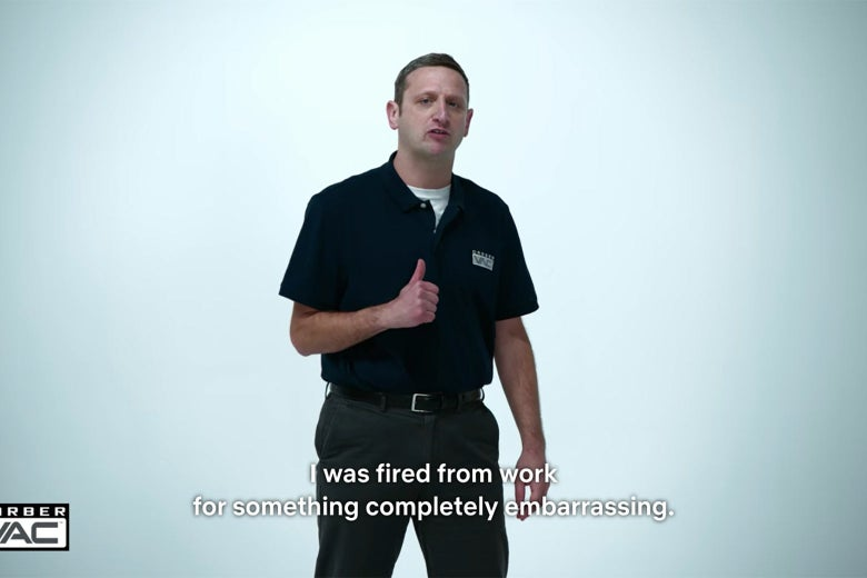 """A man against a white background, captioned """"I was fired from work for something complete embarrassing."""""""