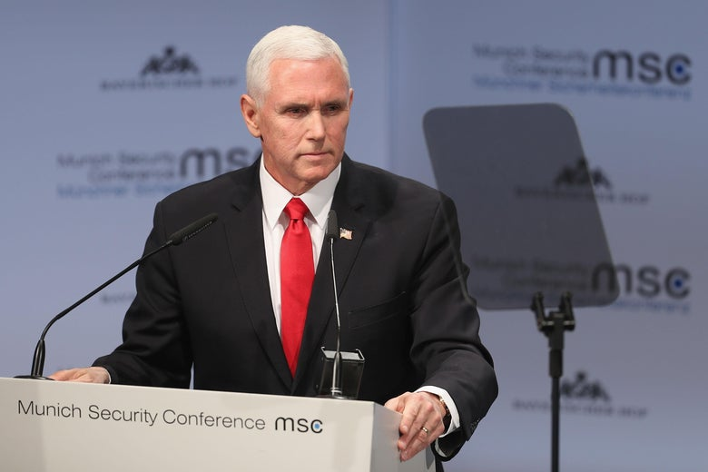 Vice President Michael Pence gives a speech during the 55th Munich Security Conference (MSC) on February 16, 2019 in Munich, Germany.