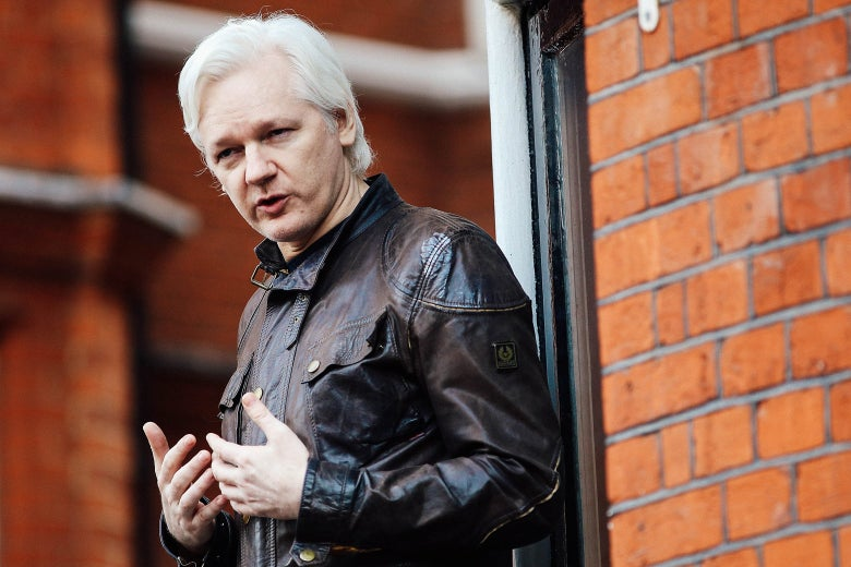 Julian Assange speaks to the media from the balcony of the Embassy of Ecuador on May 19 in London.