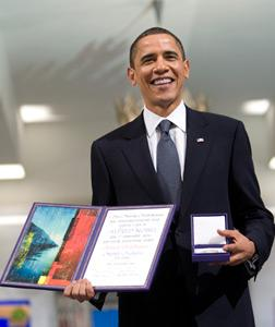President Barack Obama accepting Nobel Prize.