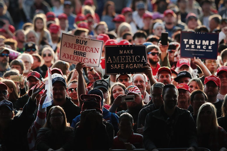 A crowd at a Trump rally.