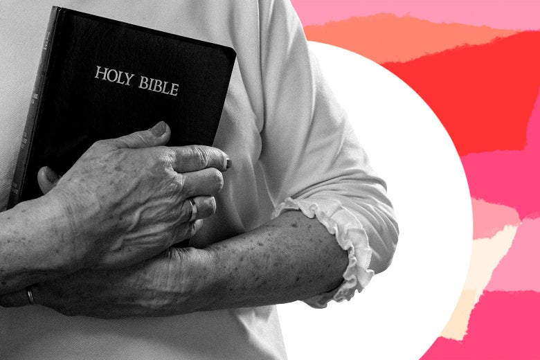 Collage of an older woman holding a bible in front of pink paper tears.