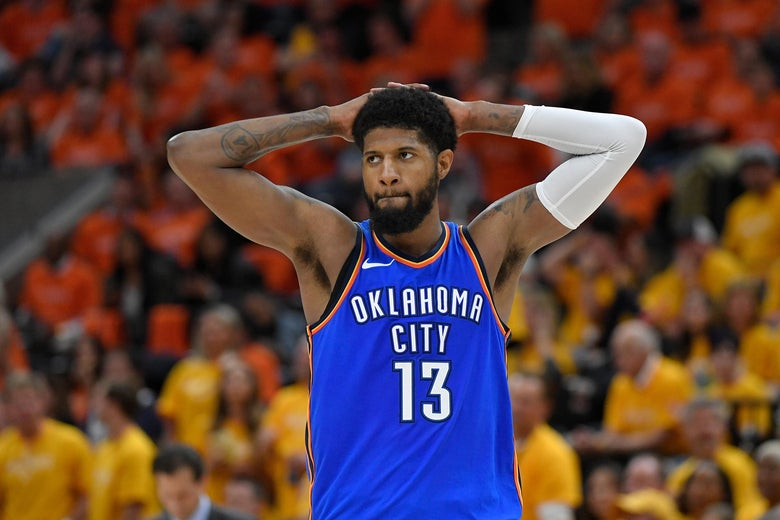 Paul George #13 of the Oklahoma City Thunder reacts to a call.