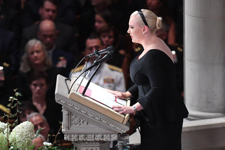 Meghan McCain, daughter of Senator John McCain, speaks during a memorial service for her father at the Washington National Cathedral in Washington, DC, on September 1, 2018.