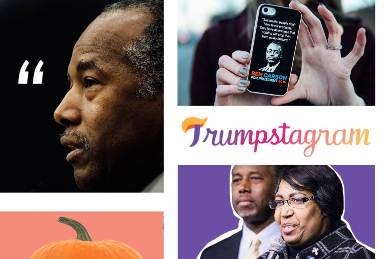 Ben Carson, a Ben Carson 2016 cellphone case, Ben and Candy Carson, and a pumpkin.