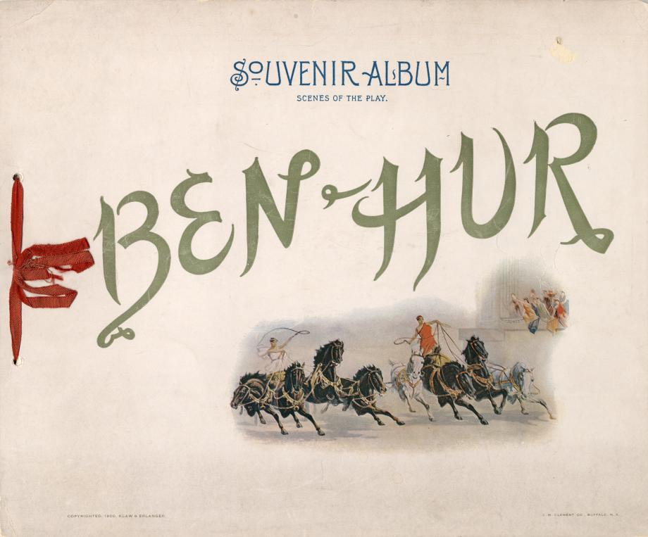 Ben-Hur souvenir album with photographs of scenes from the stage play adaptation.