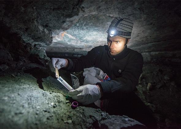 Suren Gazaryan taking soil samples from the walls of a cave where bats are hibernating over the winter. The soil samples will be tested for an infectious diseases that is spreading among bats.