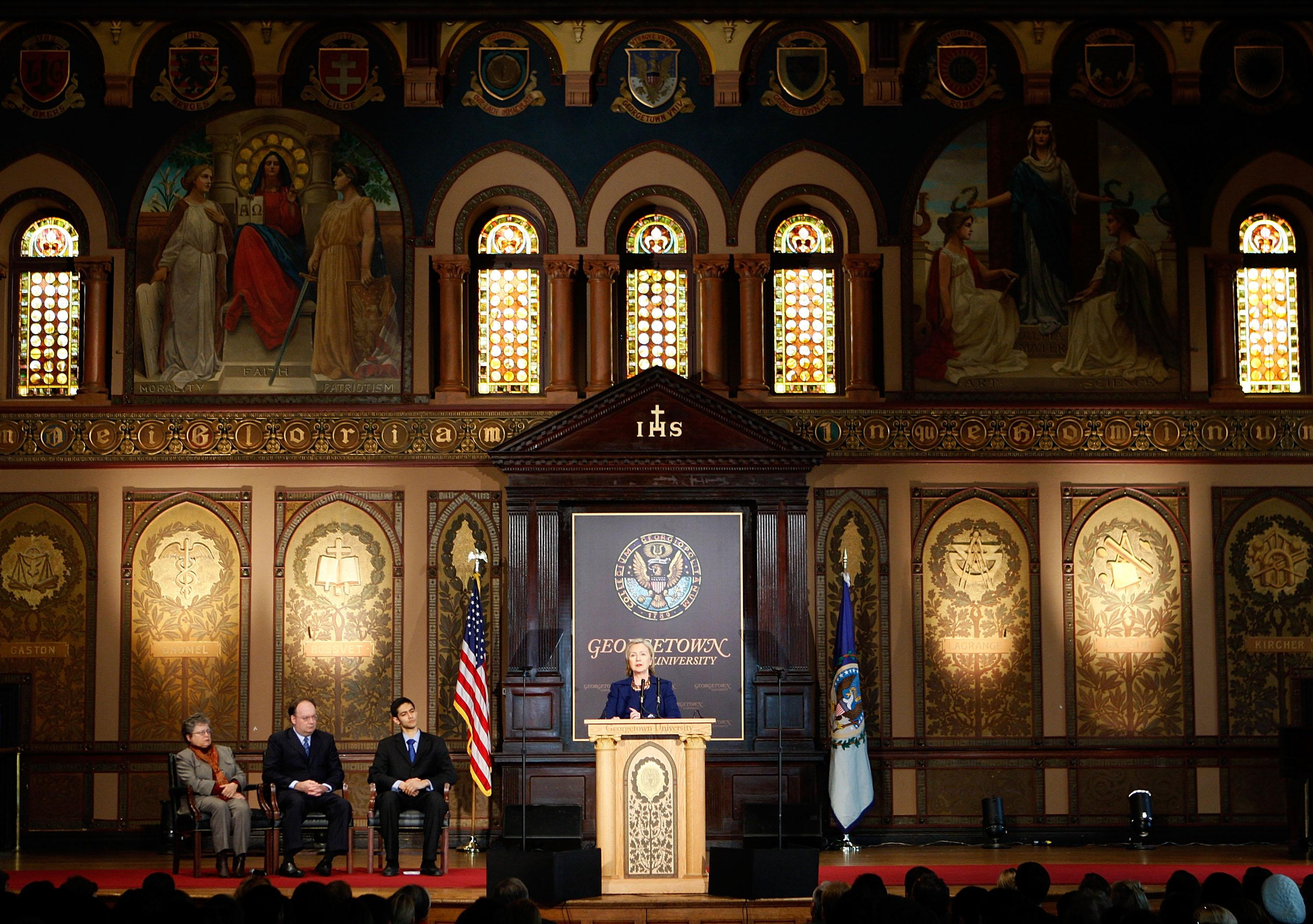 Then-Secretary of State Hillary Rodham Clinton addresses students and faculty members at Georgetown University on Dec. 14, 2009