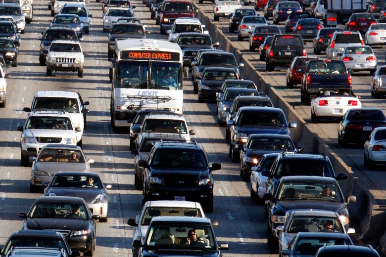 Bumper to bumper traffic on the 405 freeway in Los Angeles