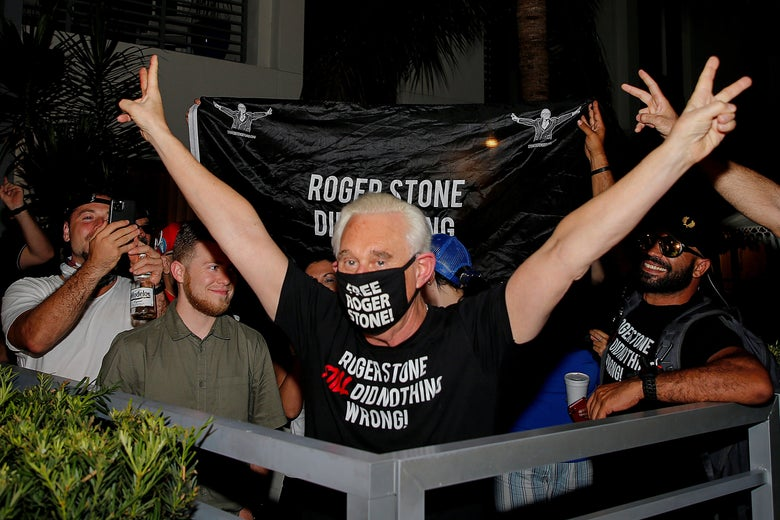 Roger Stone celebrates after President Donald Trump commuted his federal prison sentence, outside his home in Fort Lauderdale, Florida, on  July 10, 2020.