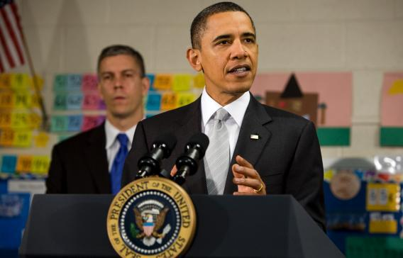 Pres. Obama speaks at an Elementary School.
