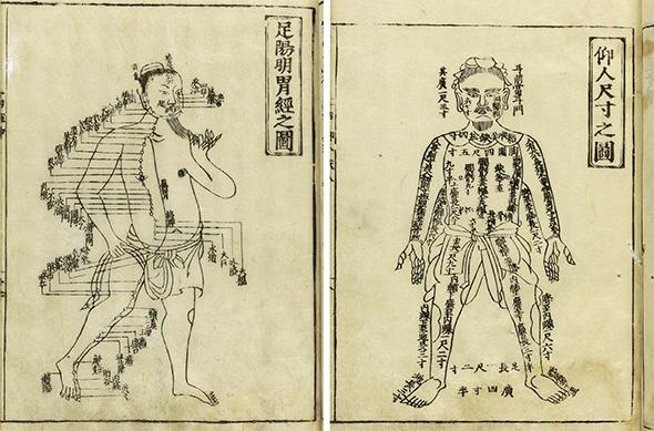 Pages from Shi Si Jing Fa Hui, translated as Routes of the Fourteen Meridians and Their Functions, a classic used in the practice of acupuncture published by Hua Shou in the 14th century.