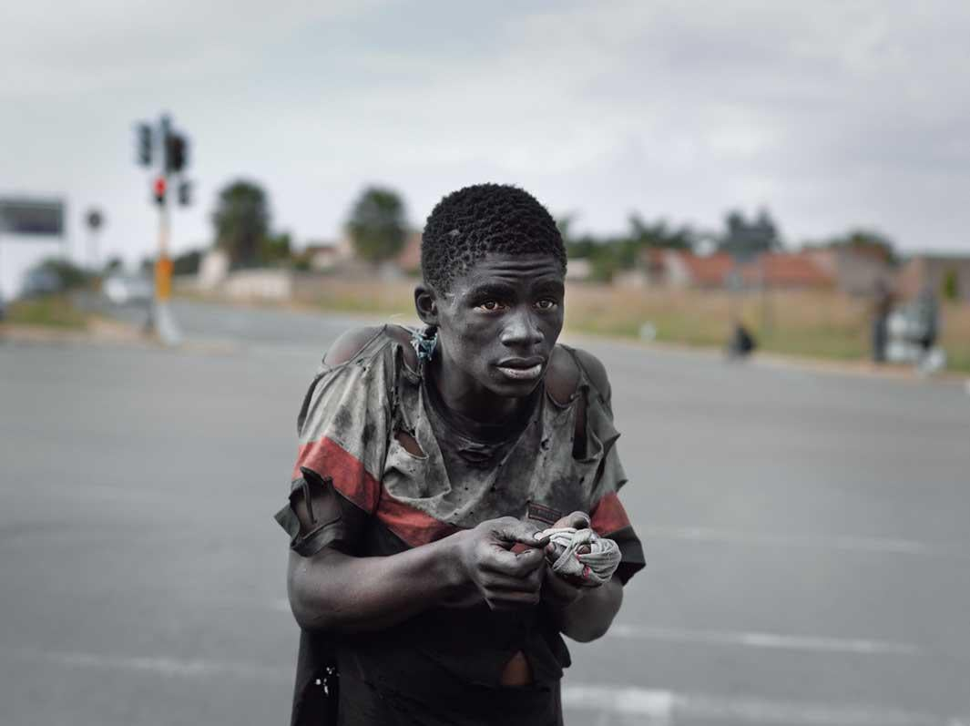 At a traffic intersection, Johannesburg, 2011