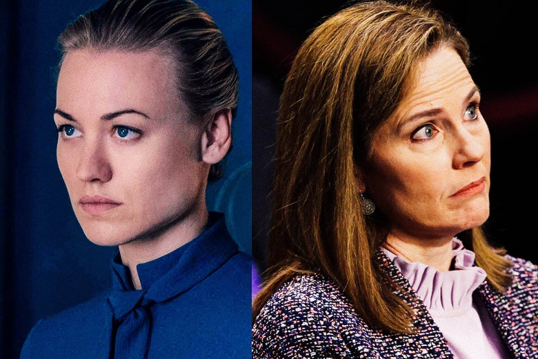 Diptych of Yvonne Strahovski looking stern as Serena Waterford and Amy Coney Barrett at her confirmation hearing