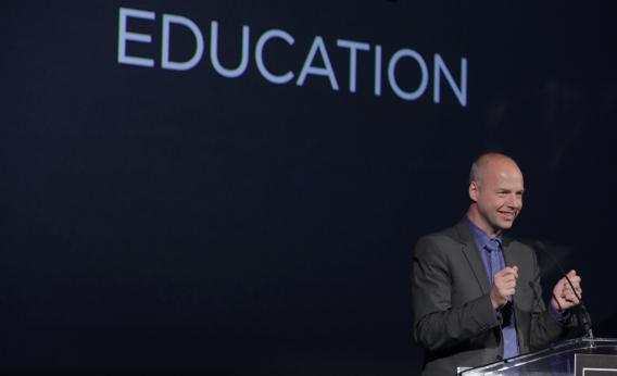 Udacity founder Sebastian Thrun speaks after receiving an ingenuity award for education last fall.
