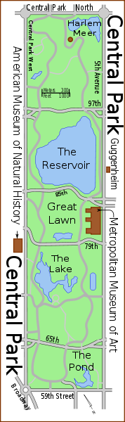 Map of Central Park, showing the major features and streets