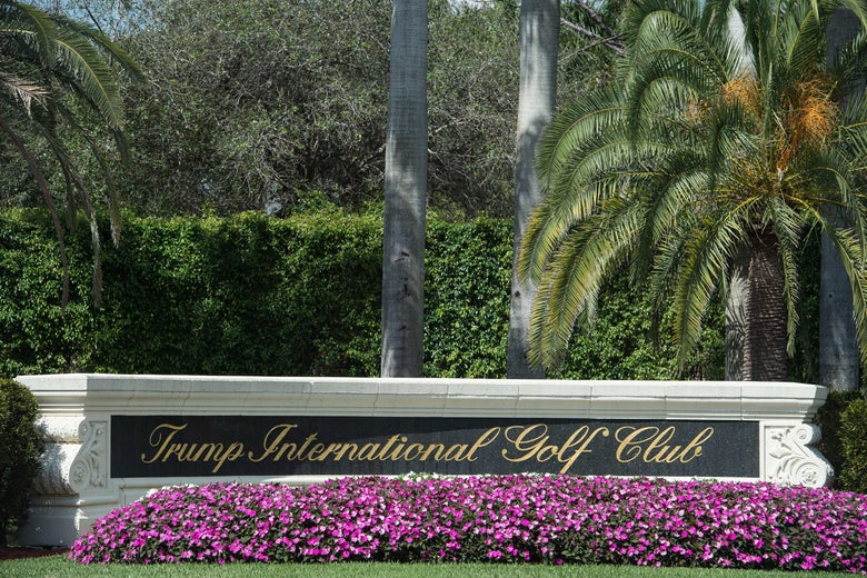 View of the entrance of the Trump International Golf Club in West Palm Beach, Florida, on February 19, 2017.
