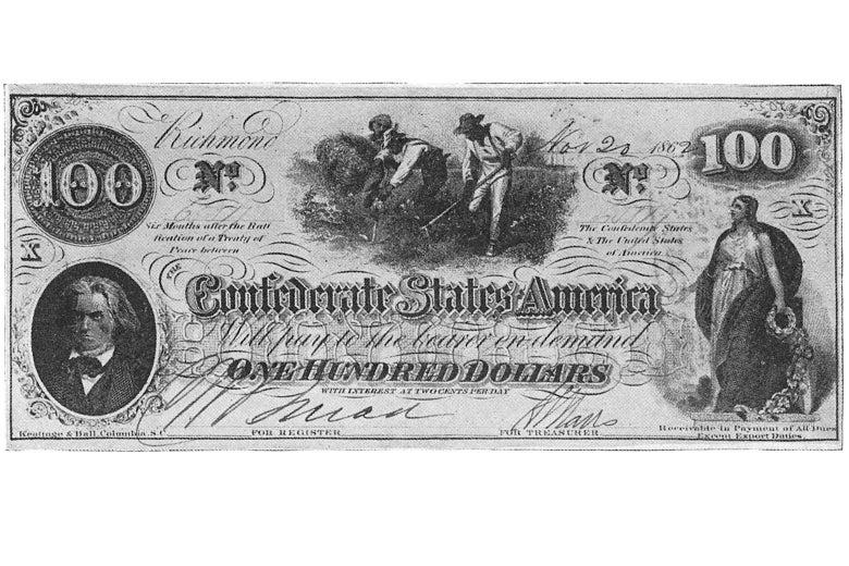 Calhoun pictured on a $100 Confederate States of America bill