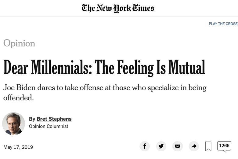 "Screenshot of Bret Stephens' column titled ""Dear Millennials: The Feeling Is Mutual."""
