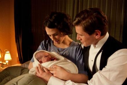 Jessica Brown-Findlay as Lady Sybil and Allen Leech as Tom Branson