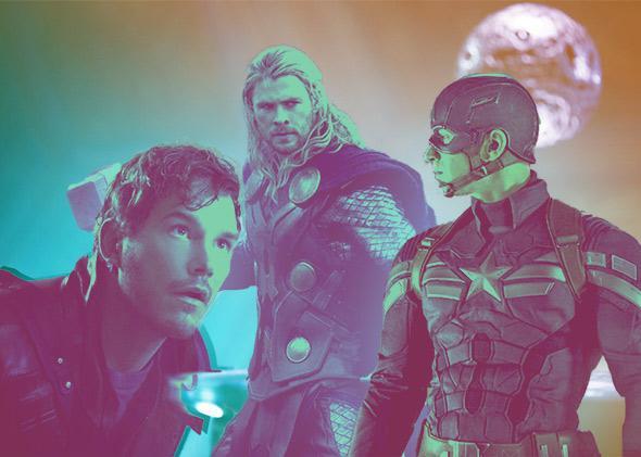 Chris Pratt in Guardians of the Galaxy; Chris Hemsworth in Thor: The Dark World; Chris Evans in Captain America: The Winter Soldier.