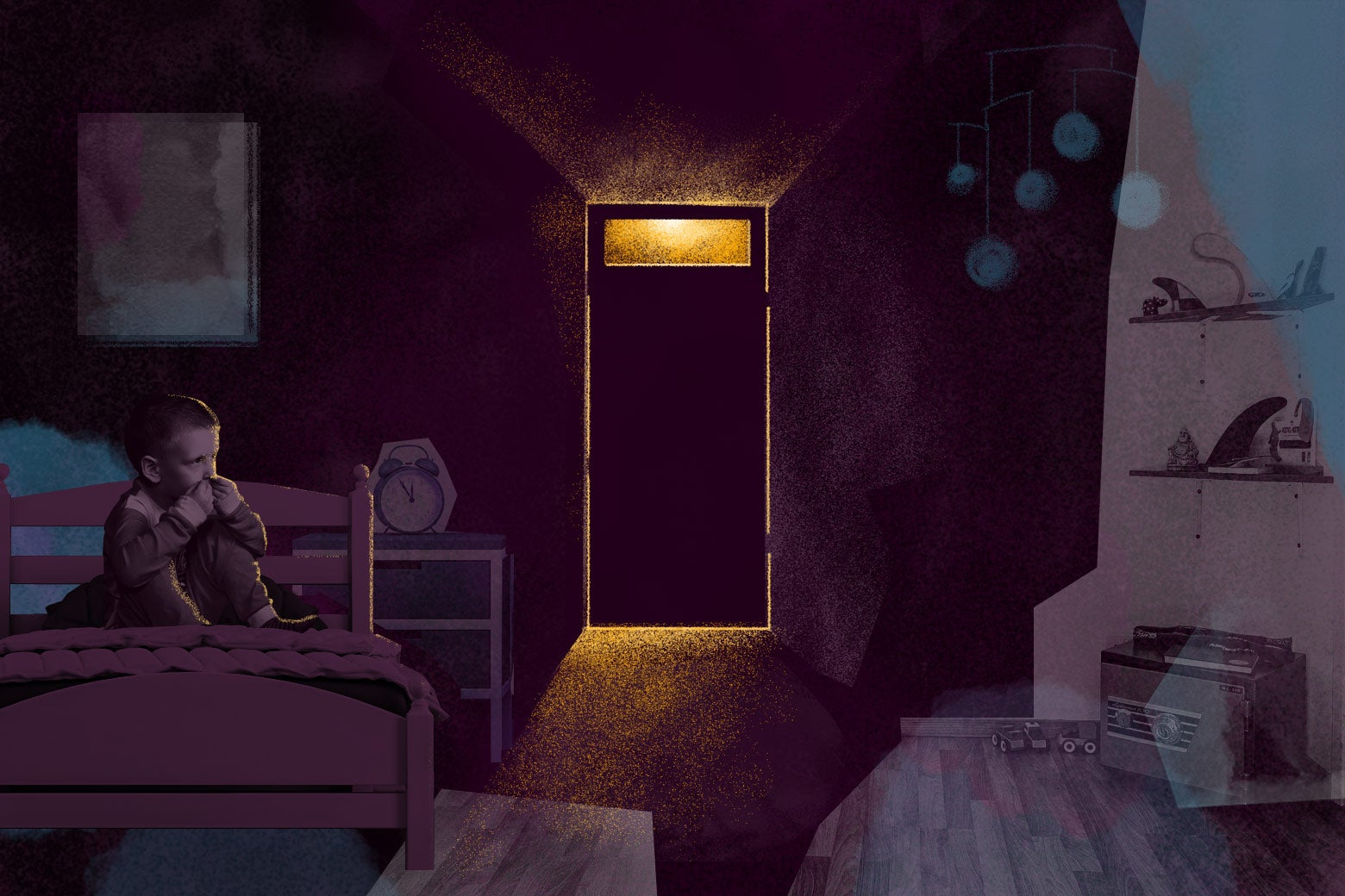 Illustration of a boy in a dark room lit only by the light coming in a transom above the door.