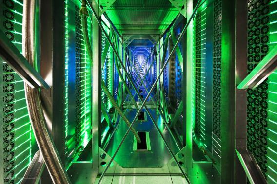 Google data center behind server aisle